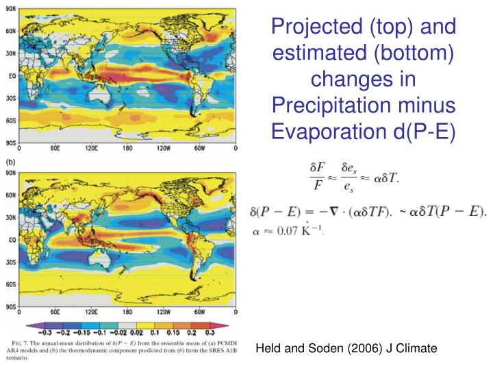 Projected (top) and estimated (bottom) changes in Precipitation minus Evaporation d(P-E)