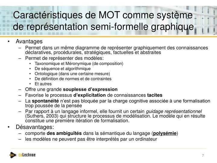Caractéristiques de MOT comme système de représentation semi-formelle graphique