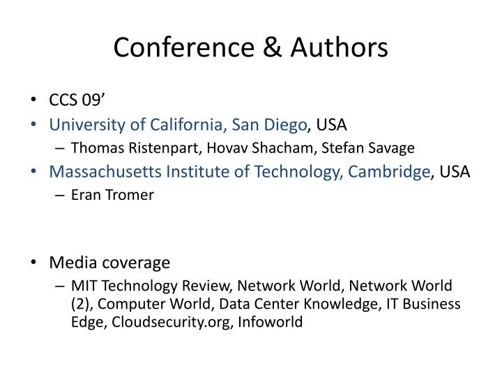 Conference authors