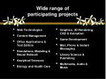 wide range of participating projects1