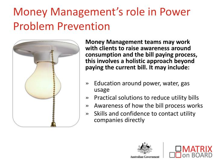 Money Management's role in Power Problem Prevention