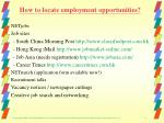 how to locate employment opportunities