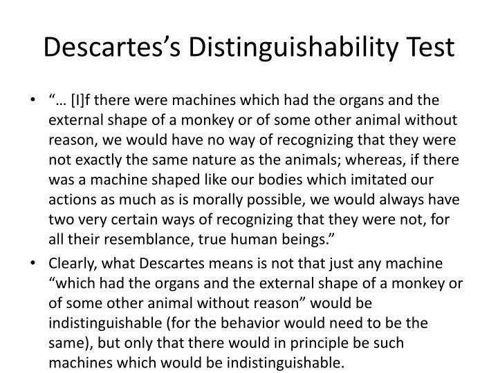 Descartes's Distinguishability Test