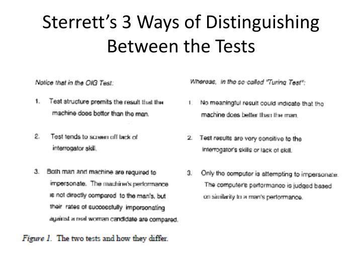 Sterrett's 3 Ways of Distinguishing Between the Tests