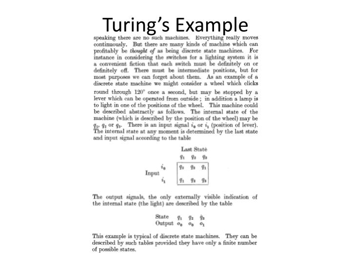 Turing's Example
