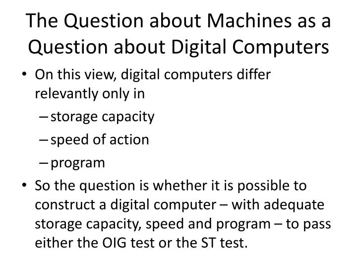 The Question about Machines as a Question about Digital Computers
