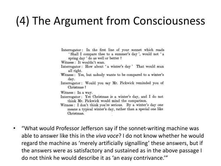 (4) The Argument from Consciousness