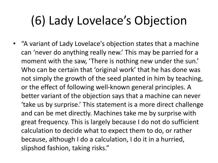 (6) Lady Lovelace's Objection