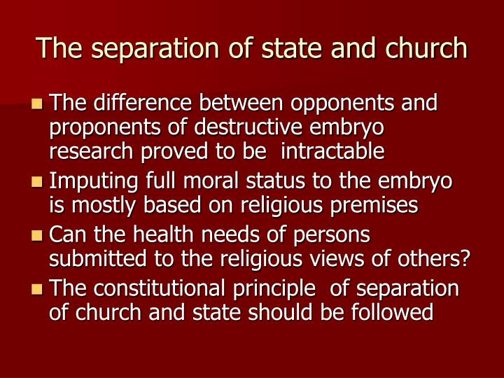 The separation of state and church