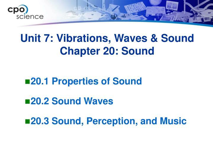 Unit 7 vibrations waves sound chapter 20 sound