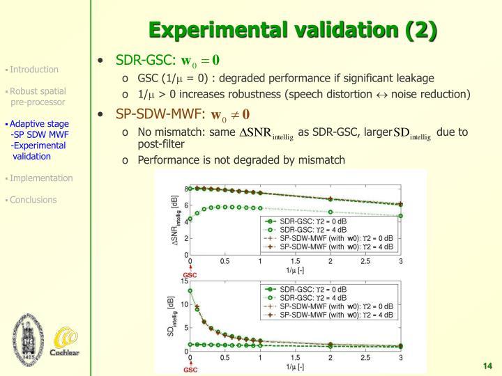 Experimental validation (2)