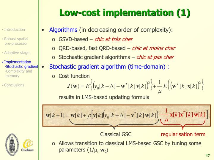 Low-cost implementation (1)