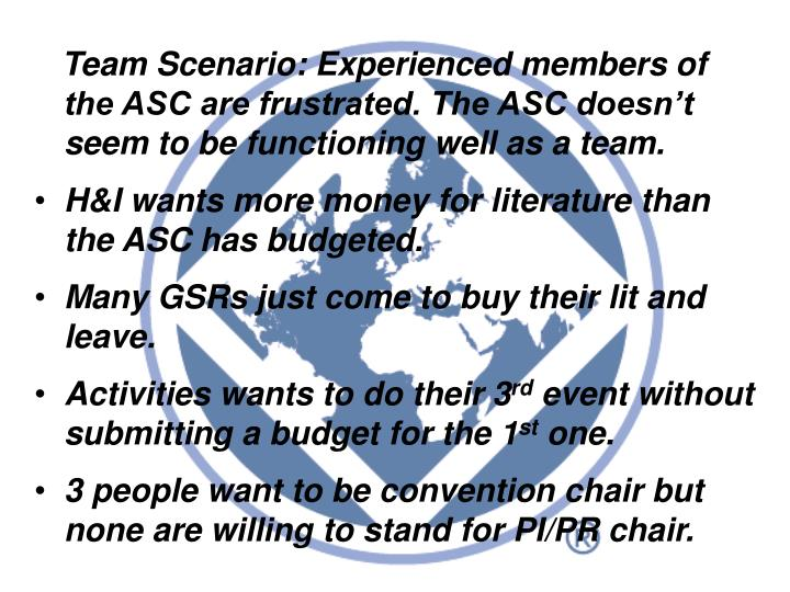 Team Scenario: Experienced members of the ASC are frustrated. The ASC doesn't seem to be functioning well as a team.