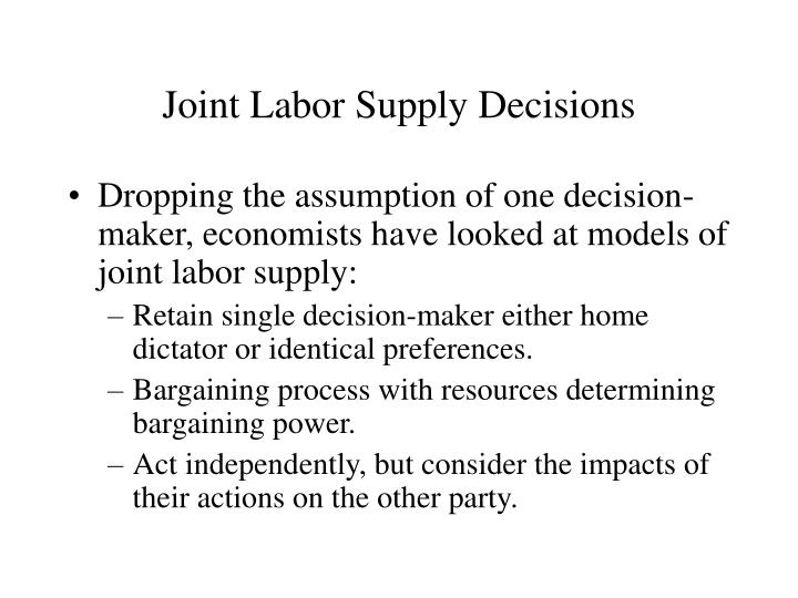 Joint Labor Supply Decisions