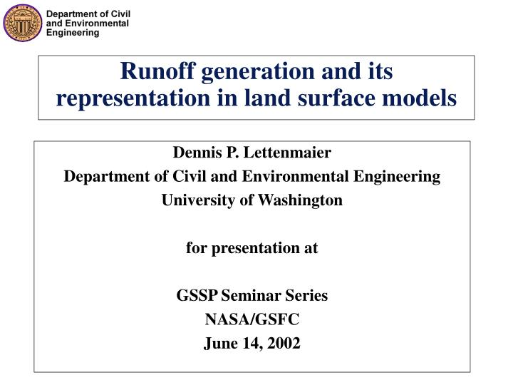 runoff generation and its representation in land surface models n.