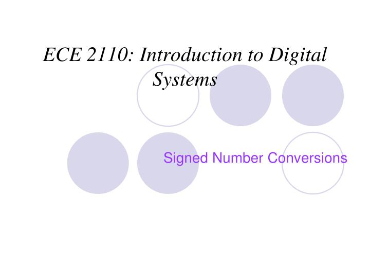 Ece 2110 introduction to digital systems