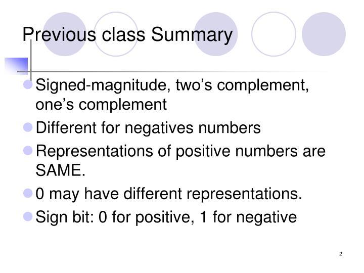 Previous class summary
