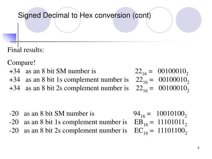 Signed Decimal to Hex conversion (cont)