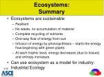 ecosystems summary