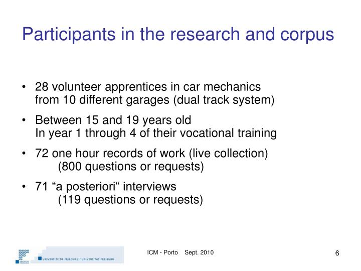 Participants in the research and corpus