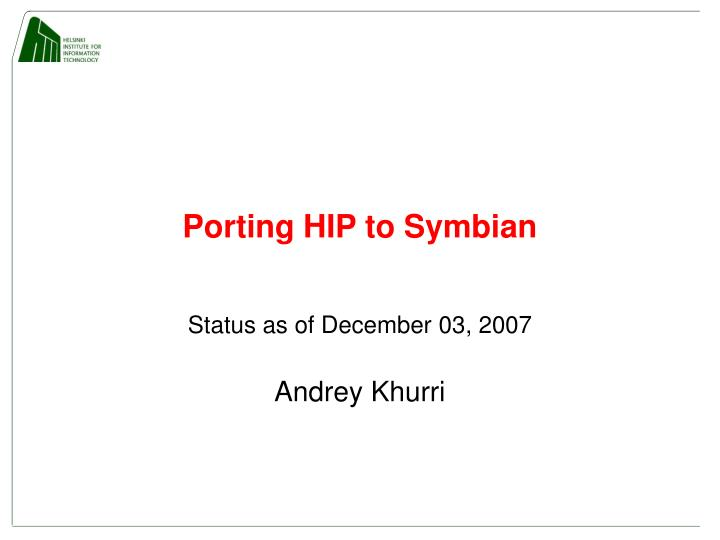 porting hip to symbian n.