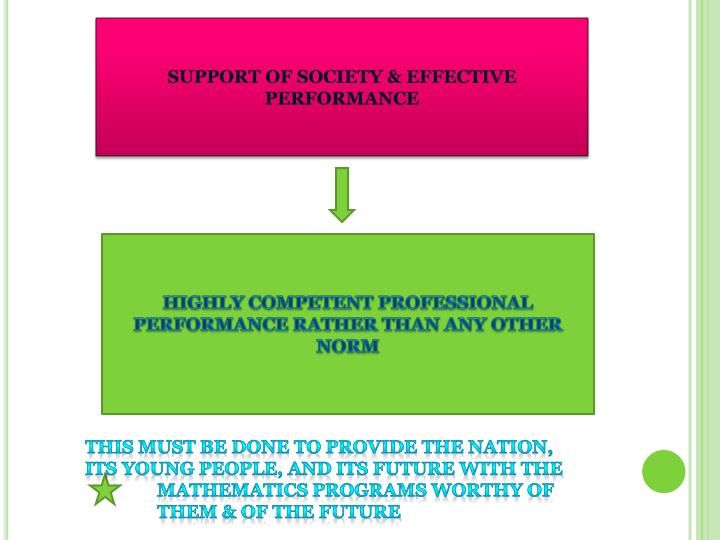 SUPPORT OF SOCIETY & EFFECTIVE PERFORMANCE