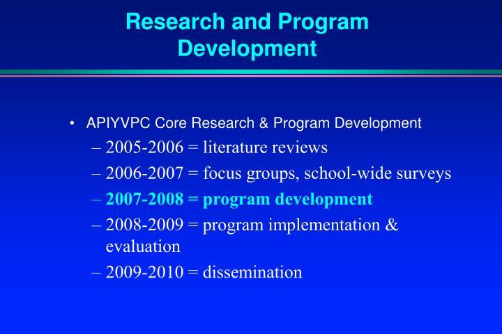 Research and Program Development