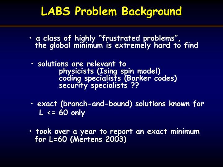 LABS Problem Background