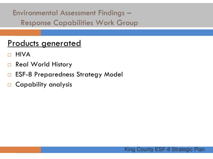Environmental Assessment Findings –