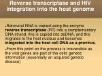 reverse transcriptase and hiv integration into the host genome