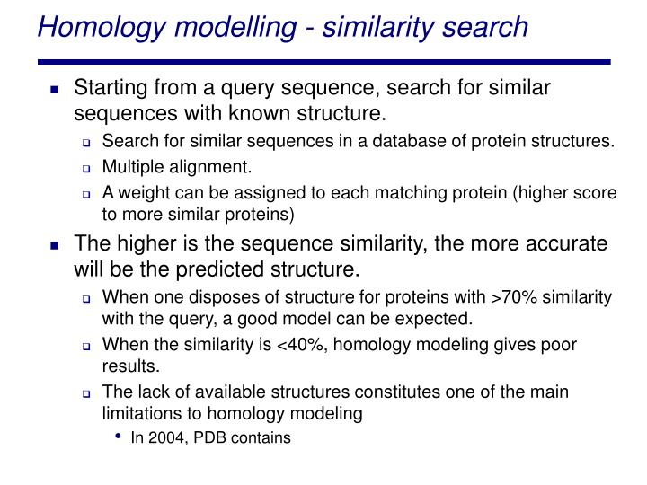 Homology modelling - similarity search