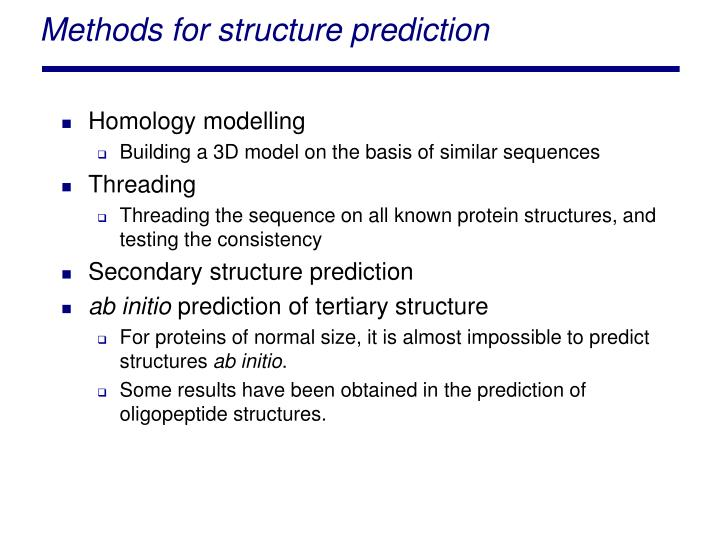 Methods for structure prediction