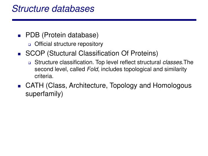 Structure databases