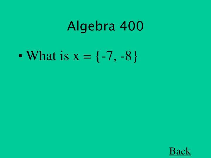 Algebra 400