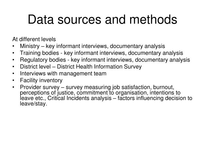 Data sources and methods