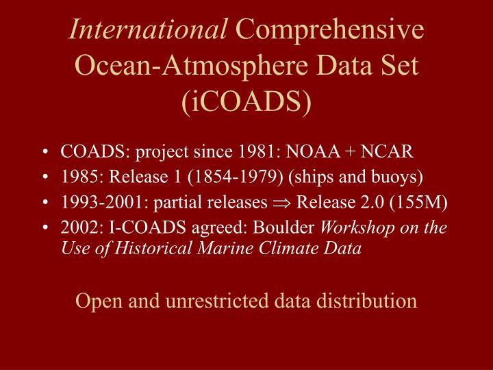 International comprehensive ocean atmosphere data set icoads