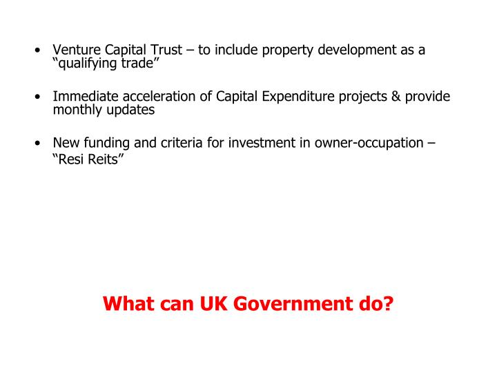 """Venture Capital Trust – to include property development as a """"qualifying trade"""""""
