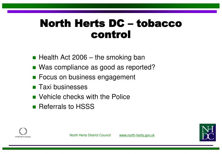 North Herts DC – tobacco control