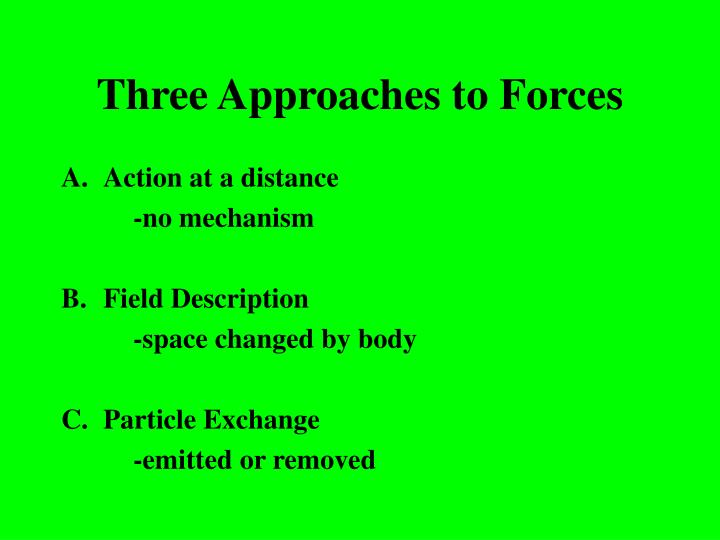 Three Approaches to Forces