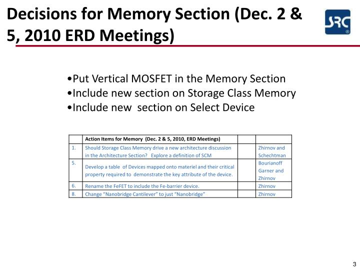 Decisions for memory section dec 2 5 2010 erd meetings