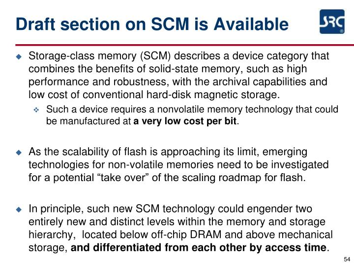 Draft section on SCM is Available