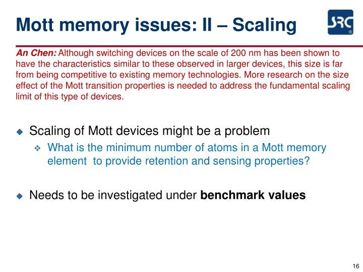 Mott memory issues: II – Scaling