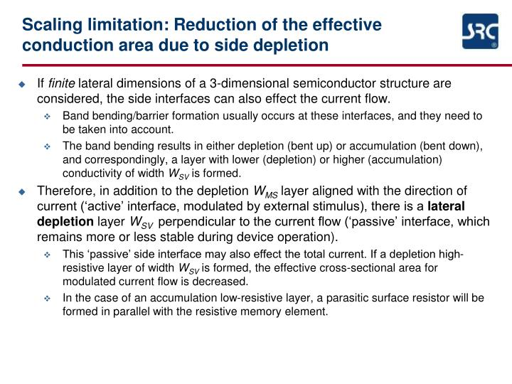 Scaling limitation: Reduction of the effective conduction area due to side depletion