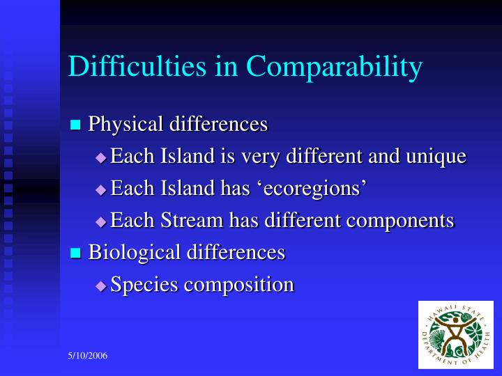 Difficulties in Comparability