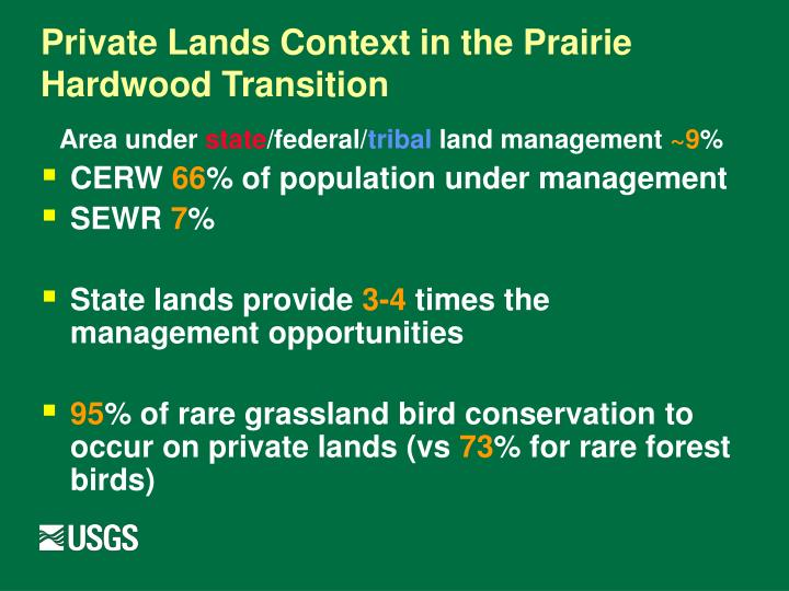 Private Lands Context in the Prairie Hardwood Transition