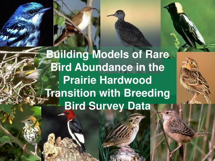 Building Models of Rare Bird Abundance in the Prairie Hardwood Transition with Breeding Bird Survey Data