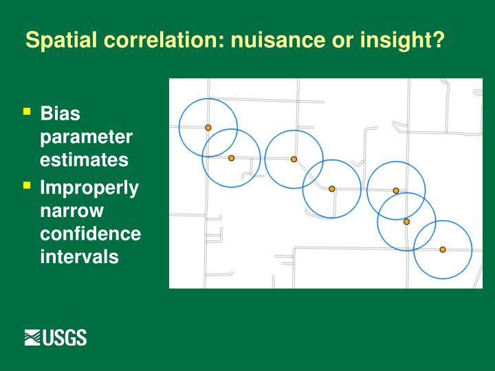 Spatial correlation: nuisance or insight?