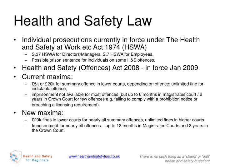 health safety law Employment lawyer, lawyer, health and safety instructor and more on indeedcom health & safety lawyer, project finance, construction law: apply all levels of construction health and safety.