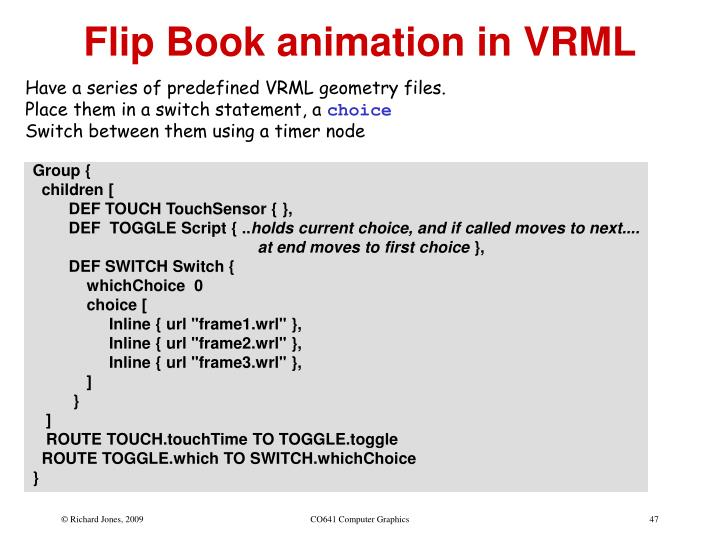 Flip Book animation in VRML