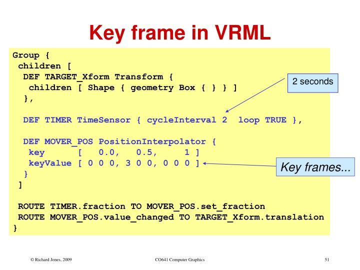 Key frame in VRML